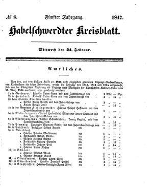 Habelschwerdter Kreisblatt vom 24.02.1847