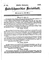 Habelschwerdter Kreisblatt (17.03.1847)
