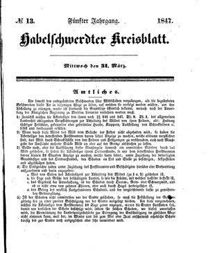 Habelschwerdter Kreisblatt vom 31.03.1847