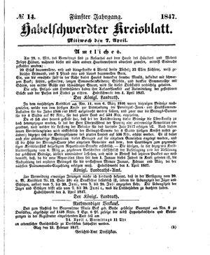 Habelschwerdter Kreisblatt vom 07.04.1847