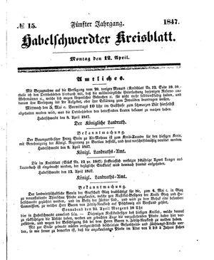 Habelschwerdter Kreisblatt vom 12.04.1847