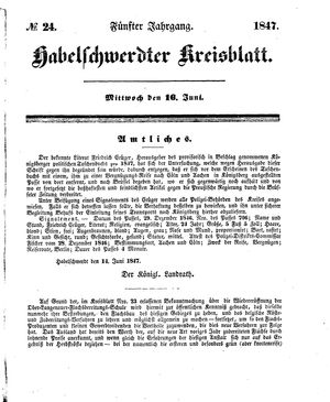 Habelschwerdter Kreisblatt vom 16.06.1847