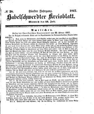 Habelschwerdter Kreisblatt vom 14.07.1847