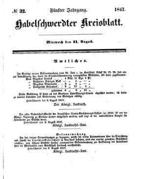 Habelschwerdter Kreisblatt vom 11.08.1847