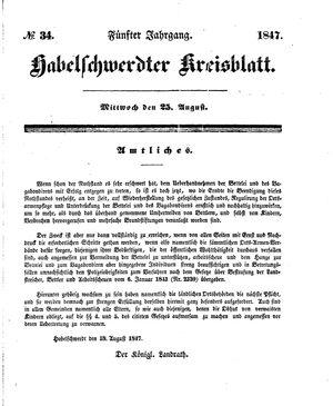 Habelschwerdter Kreisblatt vom 25.08.1847