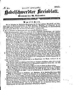 Habelschwerdter Kreisblatt vom 22.09.1847
