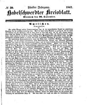 Habelschwerdter Kreisblatt vom 29.09.1847