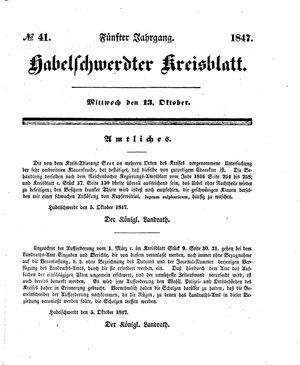 Habelschwerdter Kreisblatt vom 13.10.1847