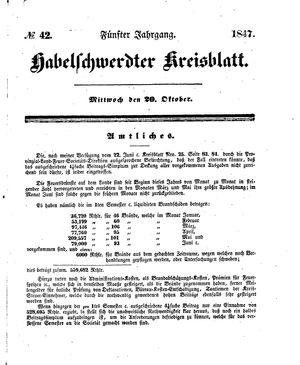 Habelschwerdter Kreisblatt vom 20.10.1847
