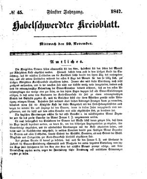 Habelschwerdter Kreisblatt vom 10.11.1847
