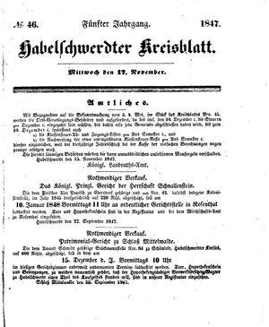 Habelschwerdter Kreisblatt vom 17.11.1847