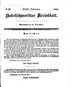 Habelschwerdter Kreisblatt vom 08.12.1847