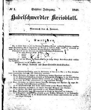 Habelschwerdter Kreisblatt vom 04.01.1848