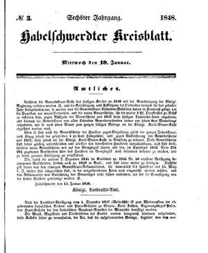 Habelschwerdter Kreisblatt vom 19.01.1848
