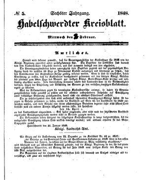 Habelschwerdter Kreisblatt vom 02.02.1848