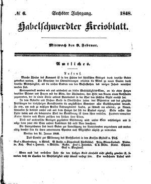 Habelschwerdter Kreisblatt vom 09.02.1848