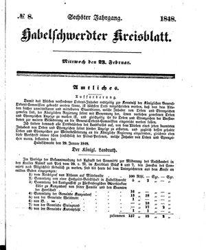 Habelschwerdter Kreisblatt vom 23.02.1848