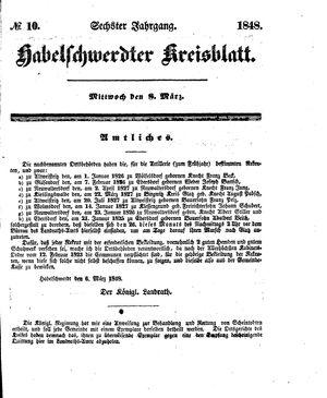 Habelschwerdter Kreisblatt vom 08.03.1848