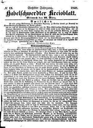 Habelschwerdter Kreisblatt vom 22.03.1848