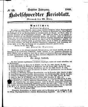 Habelschwerdter Kreisblatt vom 29.03.1848