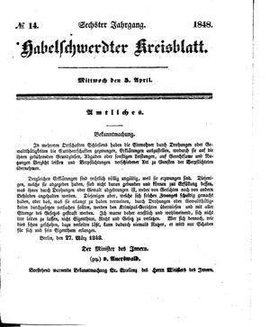 Habelschwerdter Kreisblatt vom 05.04.1848