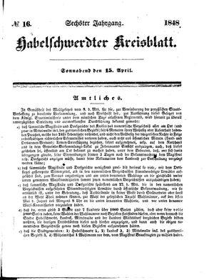 Habelschwerdter Kreisblatt vom 15.04.1848