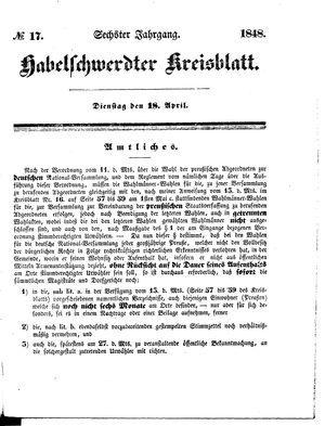 Habelschwerdter Kreisblatt vom 18.04.1848