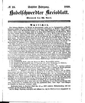 Habelschwerdter Kreisblatt vom 26.04.1848