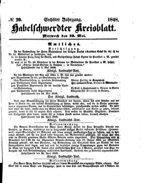 Habelschwerdter Kreisblatt vom 10.05.1848