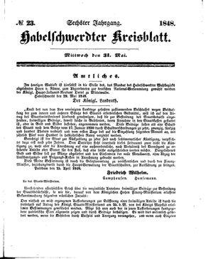 Habelschwerdter Kreisblatt vom 31.05.1848