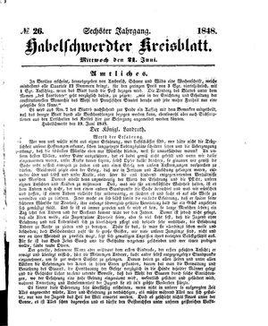 Habelschwerdter Kreisblatt vom 21.06.1848