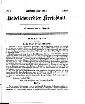 Habelschwerdter Kreisblatt vom 02.08.1848