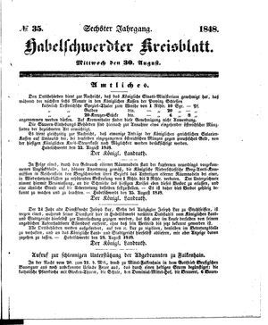 Habelschwerdter Kreisblatt vom 30.08.1848