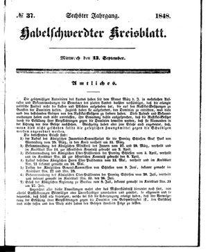 Habelschwerdter Kreisblatt vom 13.09.1848