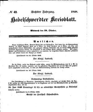 Habelschwerdter Kreisblatt vom 18.10.1848