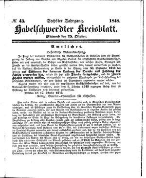 Habelschwerdter Kreisblatt vom 25.10.1848