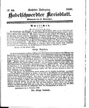 Habelschwerdter Kreisblatt vom 01.11.1848