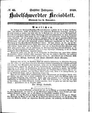 Habelschwerdter Kreisblatt vom 08.11.1848