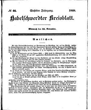 Habelschwerdter Kreisblatt vom 15.11.1848