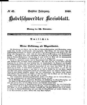 Habelschwerdter Kreisblatt vom 20.11.1848