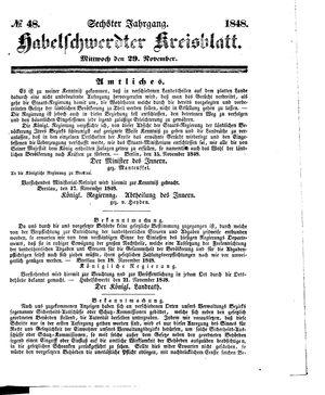 Habelschwerdter Kreisblatt vom 29.11.1848