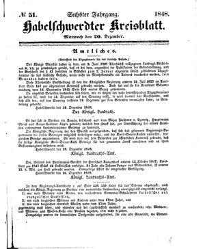 Habelschwerdter Kreisblatt vom 20.12.1848
