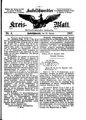 Habelschwerdter Kreisblatt on Jan 25, 1907