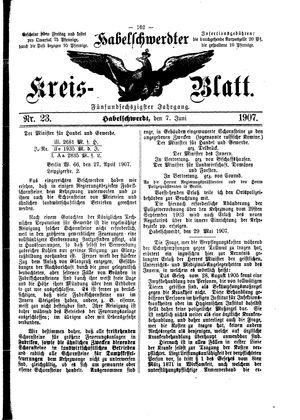 Habelschwerdter Kreisblatt vom 07.06.1907