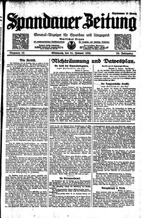 Spandauer Zeitung vom 21.01.1925