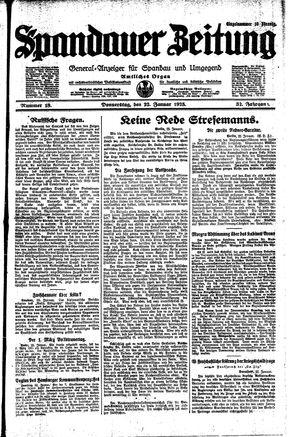 Spandauer Zeitung vom 22.01.1925