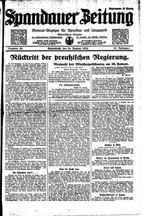Spandauer Zeitung vom 24.01.1925