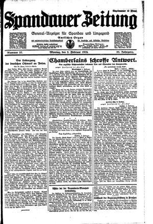 Spandauer Zeitung vom 02.02.1925