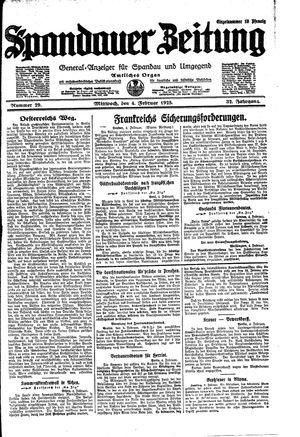 Spandauer Zeitung vom 04.02.1925