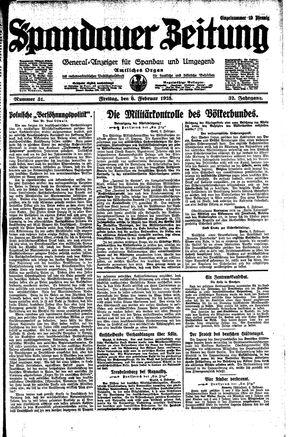Spandauer Zeitung vom 06.02.1925
